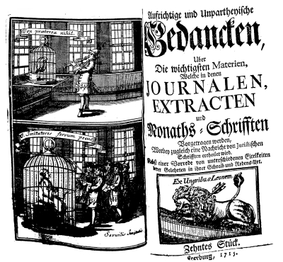 Titelblatt und Frontispiz der 'Aufrichtigen und unpartheyischen Gedancken' 10 (1715)